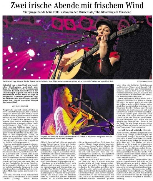 Irish Folk Festival, Wümme - Zeitung vom 10.11.2014